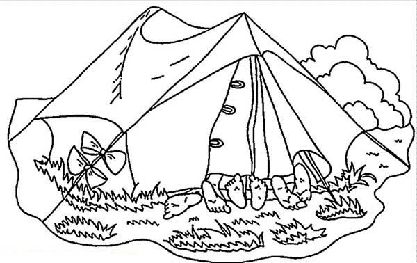 Sleeping Together On Summer Camp Tent Coloring Page