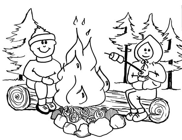Toasting Marsmallow On Summer Camp Coloring Page