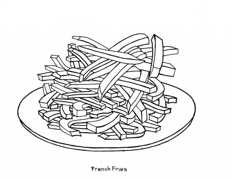 a plate of french fries junk food coloring page  download