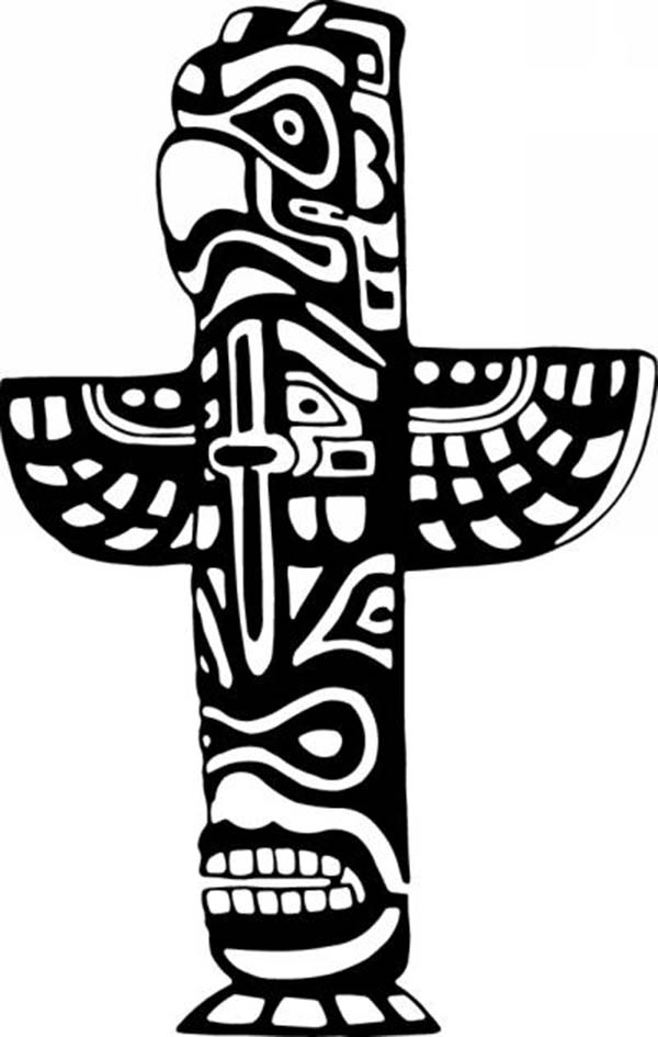 Native American Totem With Tribal Symbols For Native