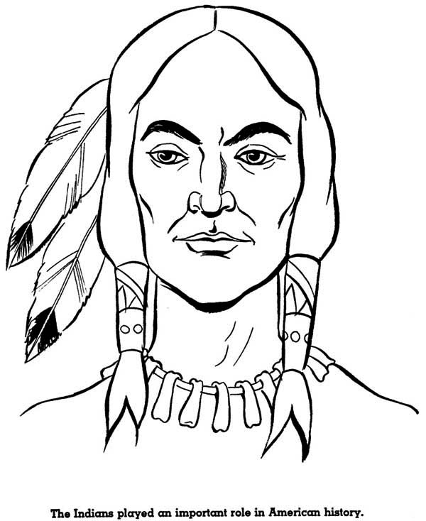 Potrait Of Native American On Native American Day Coloring