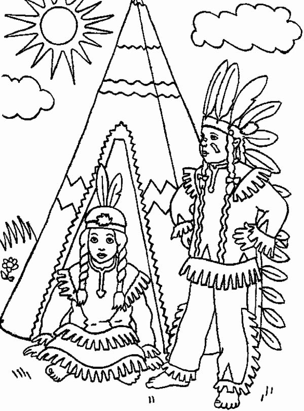 Two Native American In Front Of Teepee On Native American