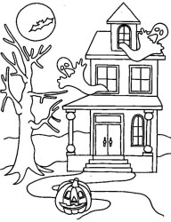 haunted coloring halloween pages printable drawing scary print colouring cartoon houses printables mansion adult fall hounted witch detailed craft decorations