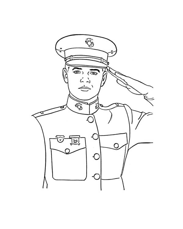 An Officer Giving Salute Celebrating Veterans Day Coloring