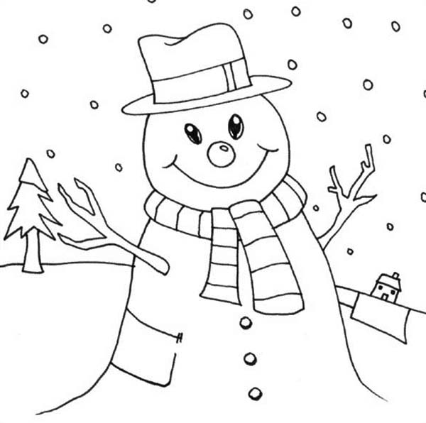 Mr Snowman On Christmas Love Snowy Rain Coloring Page