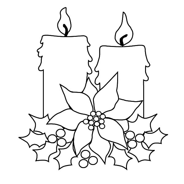 Christmas Candle For Decorating Christmas Tree Coloring
