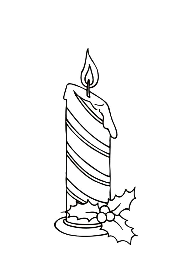Stripe Christmas Candle Coloring Pages Download Amp Print