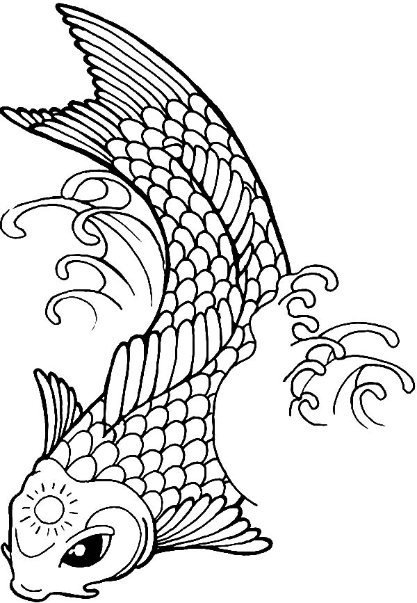 Koi Fish With Sun Tattoo On Its Forehead Coloring Pages