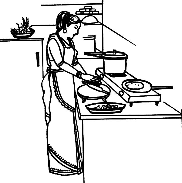Kitchen Coloring Pages Mother Cooking Dinner In The Sketch