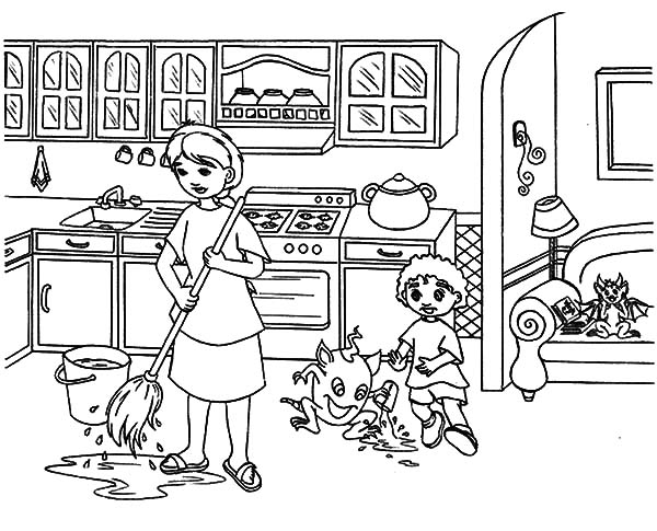 Free Coloring Pages Of Kids Cooking Together