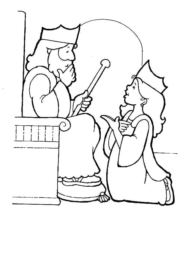 Queen Esther Kneeling Before King Ahasuerus Coloring Pages