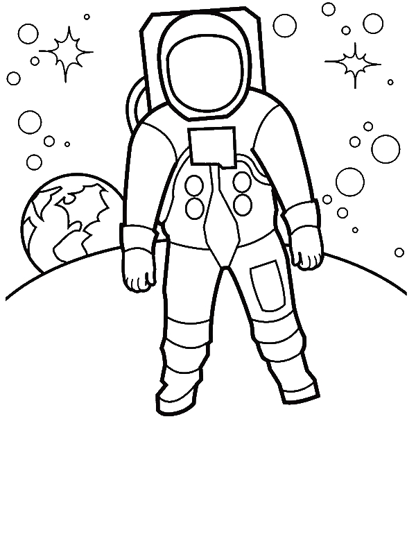 An Astronaut Walking At The Moon Surface Coloring Page
