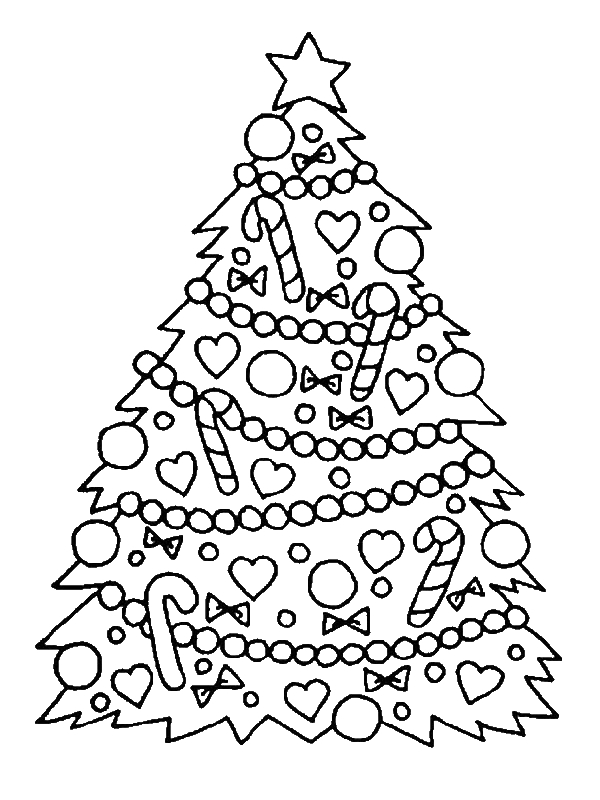 Gorgeous Christmas Tree for Christmas Coloring Page