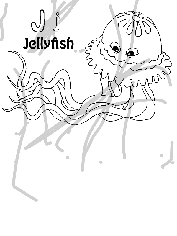 Can You Find Letter J On Jellyfish Coloring Page