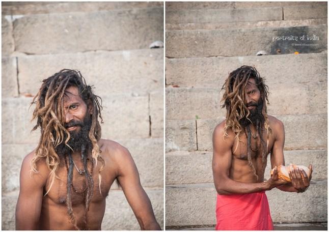 A sadhu washing clothes at sunrise at the ghats in Varanasi
