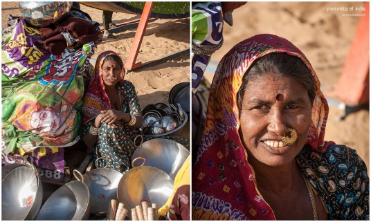 A local villager selling utensils at the Pushkar fair, Rajasthan