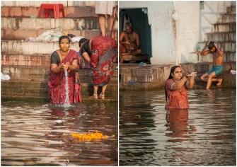 Morning prayers by river Ganges in Varanasi