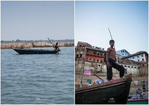 Majhi - a boatman, over river Ganges in Varanasi