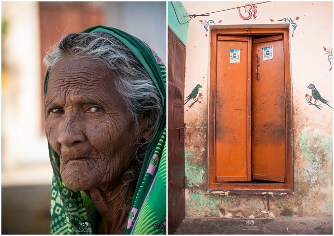 Portrait of a old woman who was sitting outside her house
