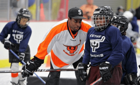 Philadelphia Flyers  players like forward Wayne Simmonds volunteer their time to Snider Hockey, the late Ed Snider's legacy.