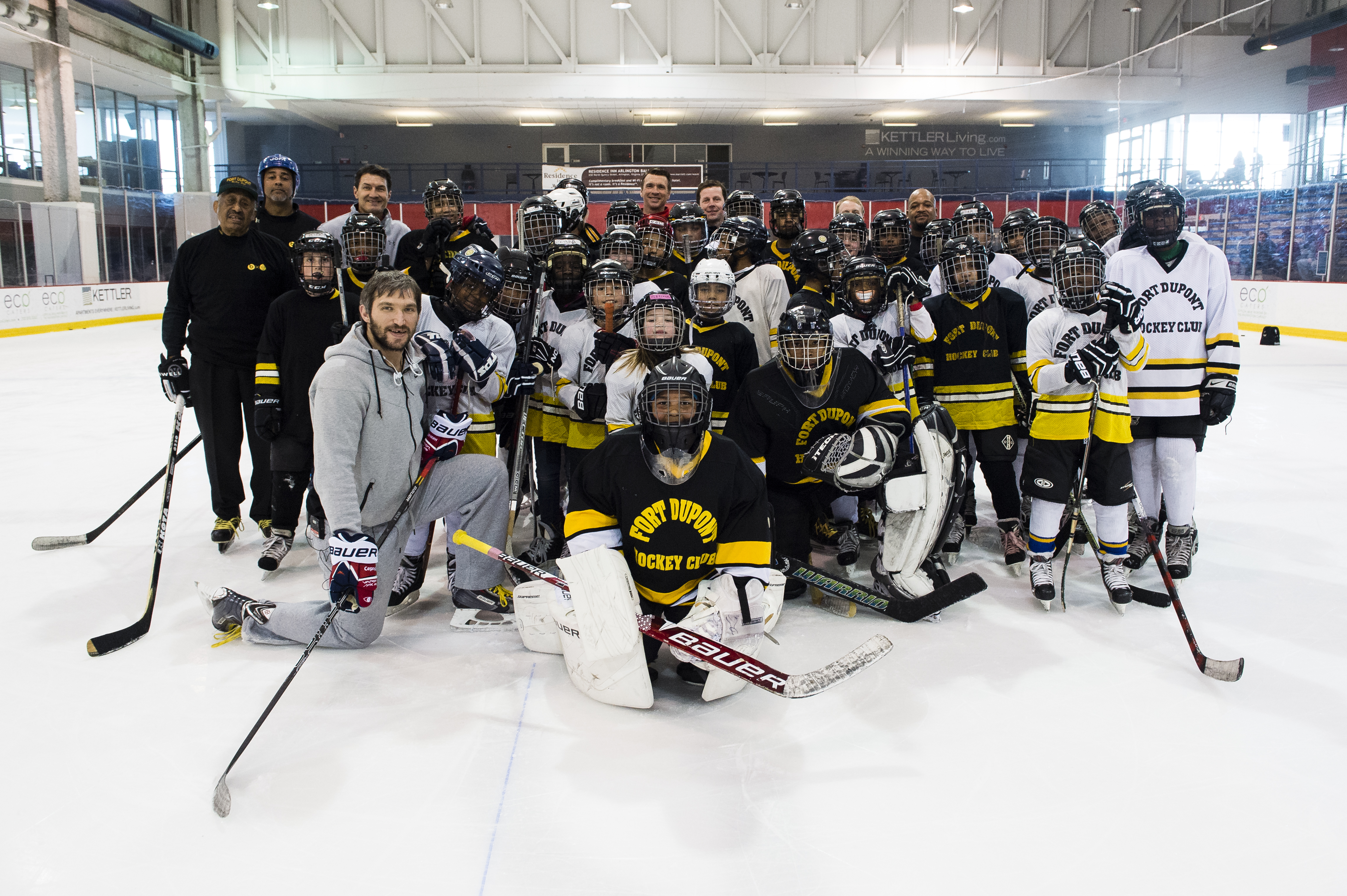 7cfa8cb789c Thirty-five players from the Fort Dupont Ice Hockey Club hang with Capitals  captain Alex