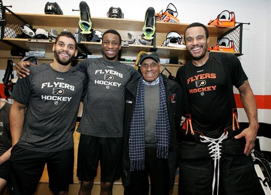 Diversity on display. Left to right: Philadelphia Flyers forwards Pierre-Edouard Bellemare and Wayne Simmonds with Willie O'Ree and former Flyer goalie Ray Emery (Photo/Philadelphia Flyers).