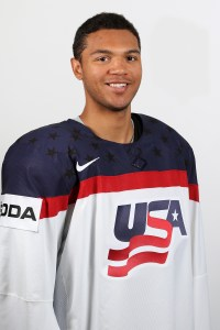 Predator's Seth Jones dons red, white, and blue jersey again (Andre Ringuette/HHOF-IIHF Images).