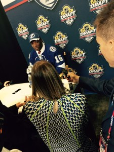 Bokondji Imama meets the media after being drafted by Tampa Bay Lightning.