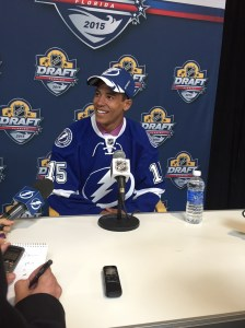 Mathieu Joseph was all smiles after being drafted by Tampa Bay Lightning.