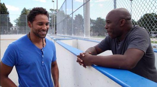 "Filmmaker Damon Kwame Mason (right) talks hockey with Pittsburgh Penguins defenseman Trevor Daley in ""Soul on Ice: Past, Present & Future."""