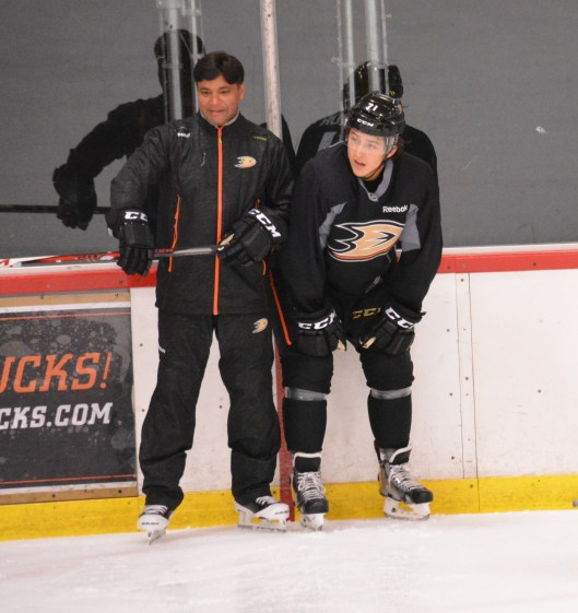 Sudarshan Maharaj, left, gets promoted from the Ducks organization's' goaltending consultant to the full-time goalie coach for the NHL team.