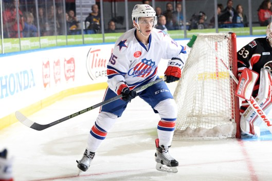Evan Rodrigues joined the Americans after a stellar career at Boston University (Photo/Micheline Veluvolu, Rochester Americans).
