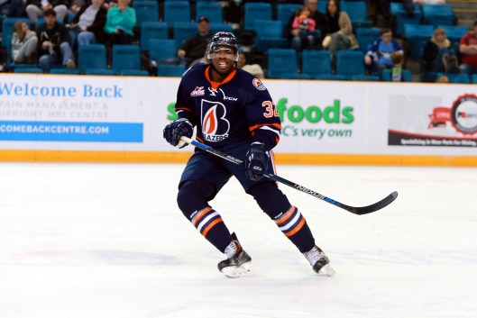 After being held scoreless in his rookie season, Jermaine Loewen has 5 goals so far in 2015-16 (Photo/Kamloops Blazers).