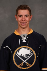 Sabres forward Evan Rodrigues gets his first NHL goal in his second game.