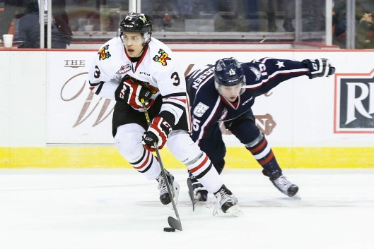 Edmonton Oilers 2015 draftee Caleb Jones quickly established himself on the blue line for the WHL Portland Winterhawks in his rookie season(Photo/Dayna Fjord/Portland Winterhawks).