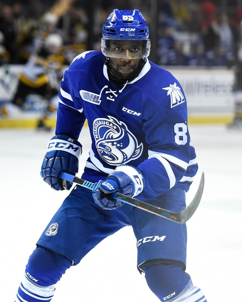 A product of Sweden's storied Modo hockey program, Mississauga Steelheads' Daniel Muzito-Bagenda hopes to hear his name called at the NHL Draft (Photo/Aaron Bell/OHL Images).