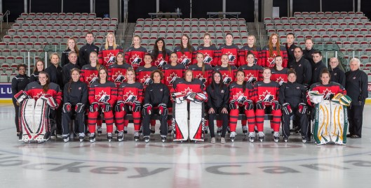 Canada's U-22 team goes up against its U.S. counterpart in Calgary. Sarah Nurse, fourth from the right. Katilin Tse, second row, seventh from the left.