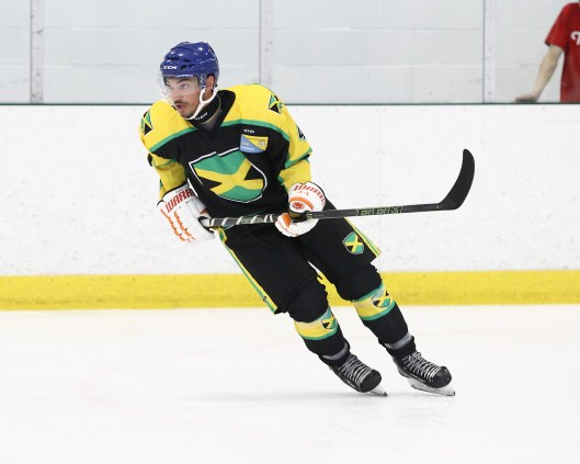 C.J. Bollers suited up for Team Jamaica in June as part of his hockey comeback. (Photo/Tim Bates/ OJHL Images).