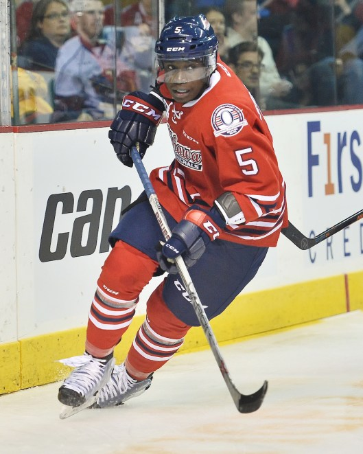 Jalen Smereck starred on the blue line last season for the Oshawa Generals (Photo/Terry Wilson/OHL Images).