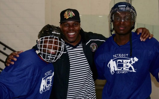 Motor City Hawks Head Coach/Co-Owner Jason McCrimmon (center) with Hawks forward Justin Session (left) and Flint Firebirds defenseman Jalen Smereck (right), an Arizona Coyotes signee.