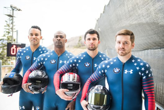 The crew of the four-man sled on the U.S. Men's Bobsled National Team. Left to right, Christopher Kinney, Adrian Adams, Frank Del Duca, and Codie Bascue (Photo/Molly Choma/ USA Bobsled & Skeleton).