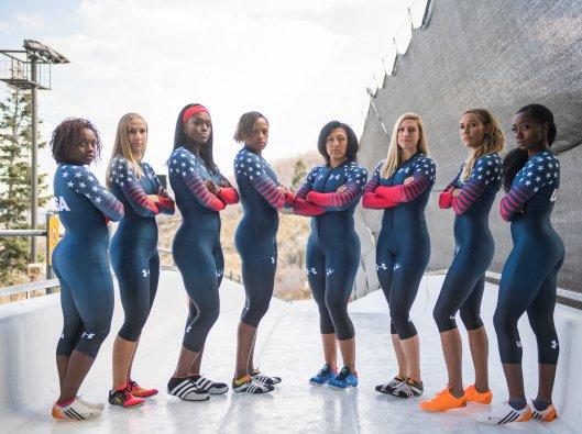 The U.S. Women's Bobsled National Team. Left to Right, Kehri Jones, Brittany Reinbolt, Aja Evans, Lauren Gibbs, Elana Meyers Taylor, Lolo Jones, and Briauna Jones (Photo/Molly Choma/USA Bobsled & Skeleton).