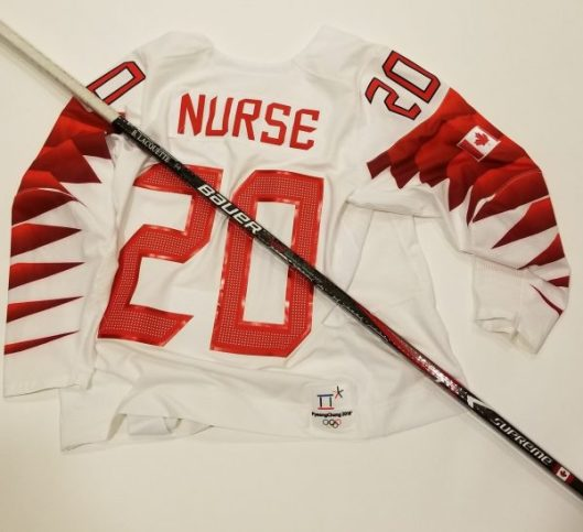 6c16c2282 The jersey that Canadian forward Sarah Nurse wore and the stick that  defender Brigette Lacquette used at the 2018 Winter Olympics are in the  Hockey Hall of ...