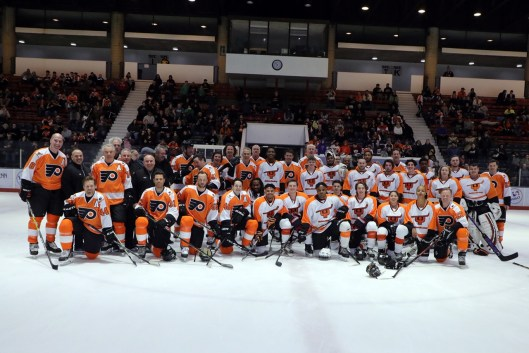 bae3b05b74c Philadelphia Flyers and Ed Snider Youth Hockey Foundation alumni faced-off  at a charity game Friday at the University of Pennsylvania's Class of 1923  Arena ...