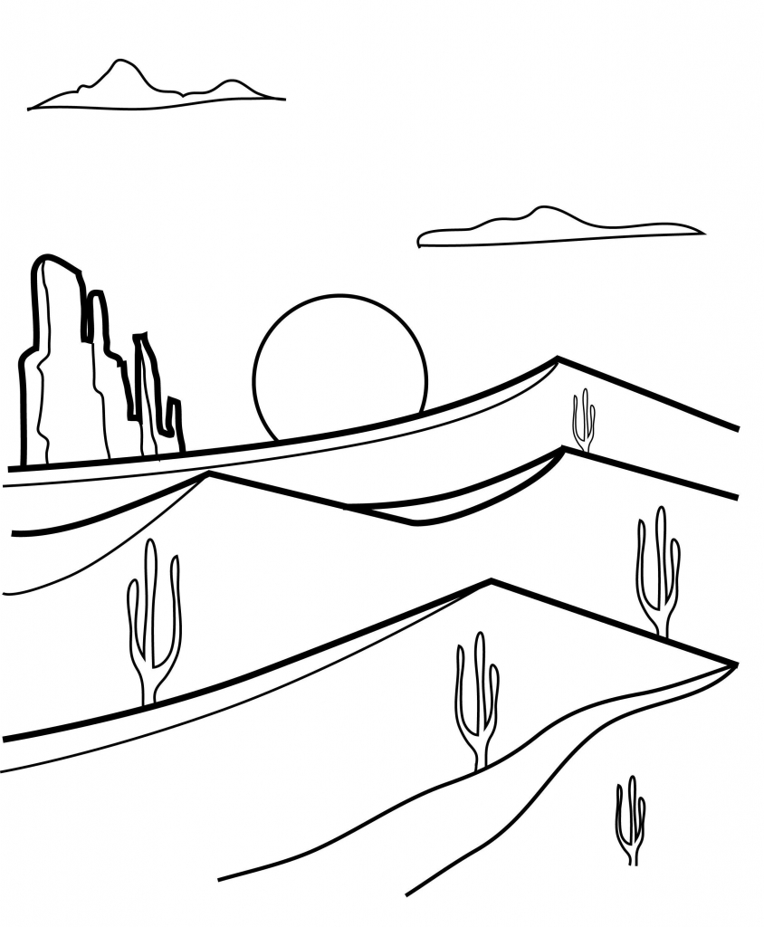 Desert Free Online Coloring