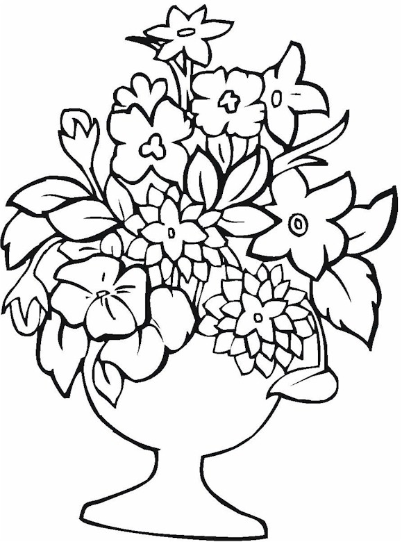 Bunch Flower Vase Coloring Page Coloring Pages