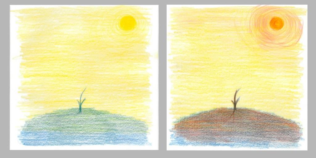 黄色と青色で描いた植物の風景と、 それに赤を足して描いた植物の風景とでは、エネルギーが違う。