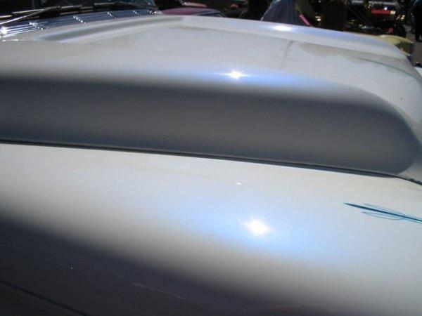 Blue Satin iridescent Illusion Pearls on White Hood