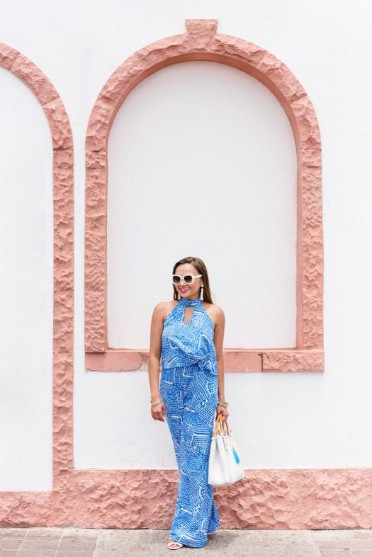 blue, jumpsuit, red dress boutique, kate spade sunglasses, jumper, mexico, puerto vallarta, malecon, mexico outfit idea, summer outfit idea, colorsofmei, fashion blog, outfit ideas, outfit blog, jumpsuit ideas