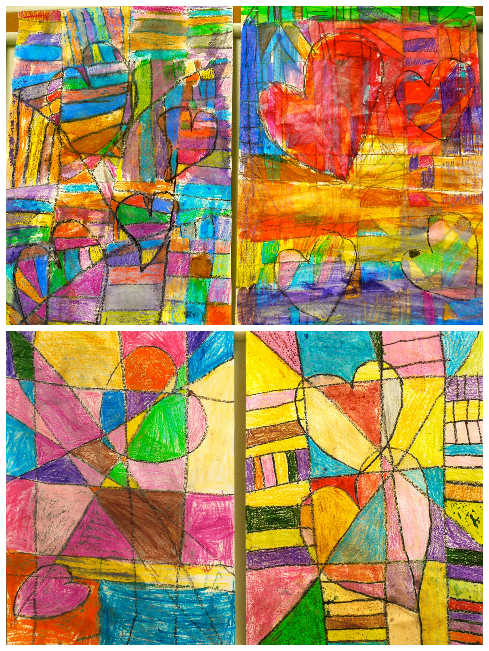4th Grade Paul Klee Inspired Cubist Hearts